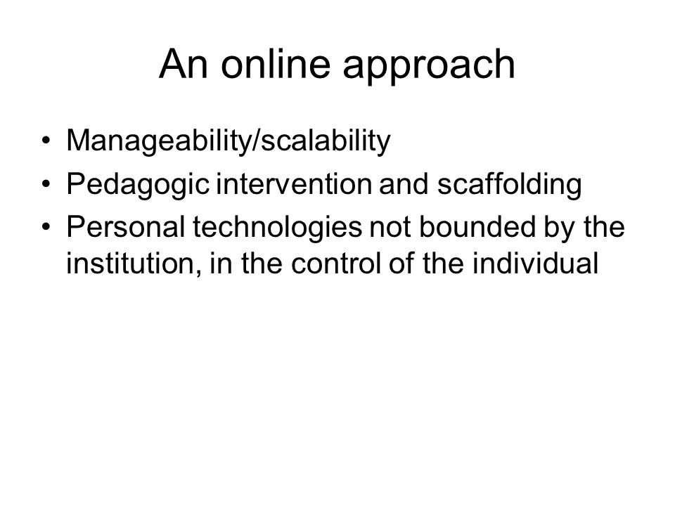 The instrumental dimension and the PLE Privileging tool usage over content delivery in line with PLE thinking –Technologies present barriers as well as opportunities –In eLearning, plethora of technologies creates new complexity for learners to manage (skills to use new tools, etc) –Computers afford opportunities to manage this complexity Particularly through SOA And more deeply… –Knowledge and action may not be separable To know something may mean to know how to act (c.f.