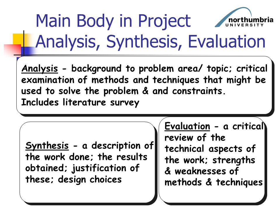 Main Body in Project Analysis, Synthesis, Evaluation Analysis - background to problem area/ topic; critical examination of methods and techniques that