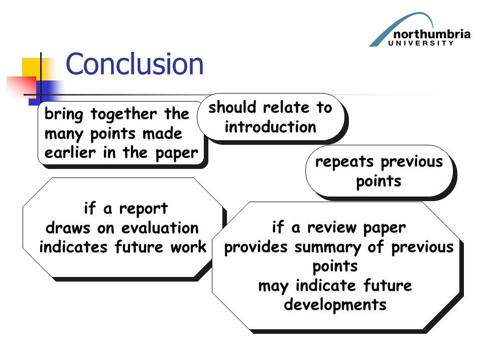 Conclusion bring together the many points made earlier in the paper bring together the many points made earlier in the paper if a report draws on eval
