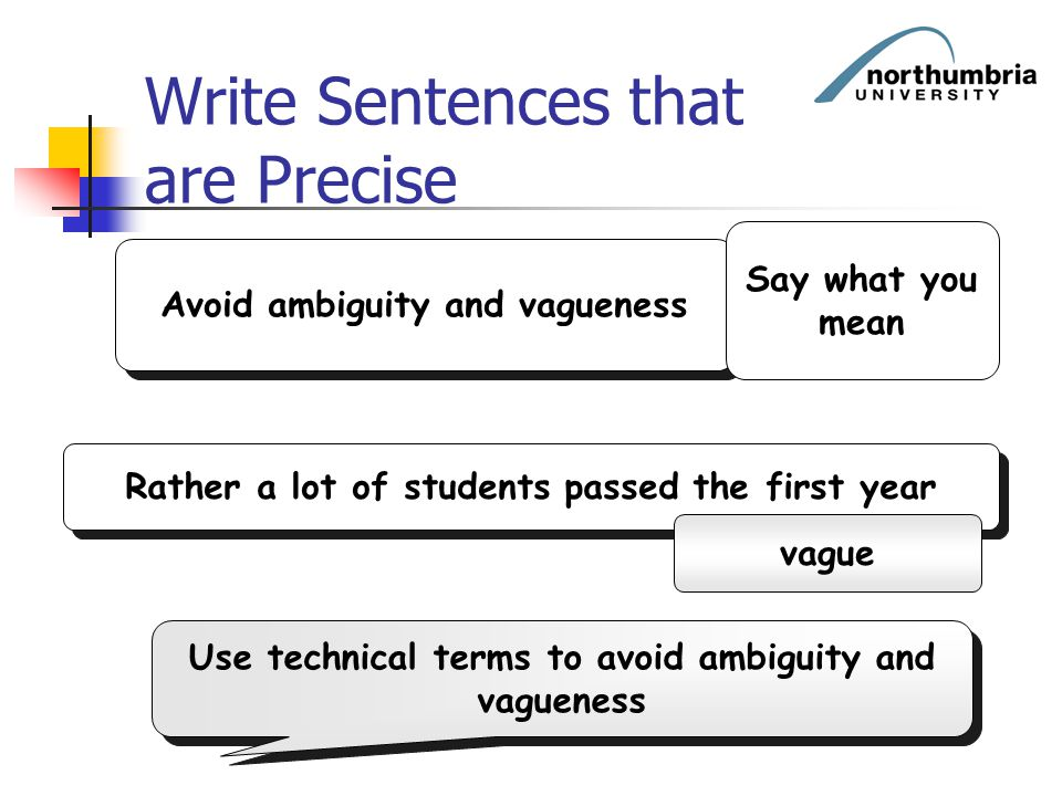 Write Sentences that are Precise Avoid ambiguity and vagueness Rather a lot of students passed the first year vague Say what you mean Use technical te