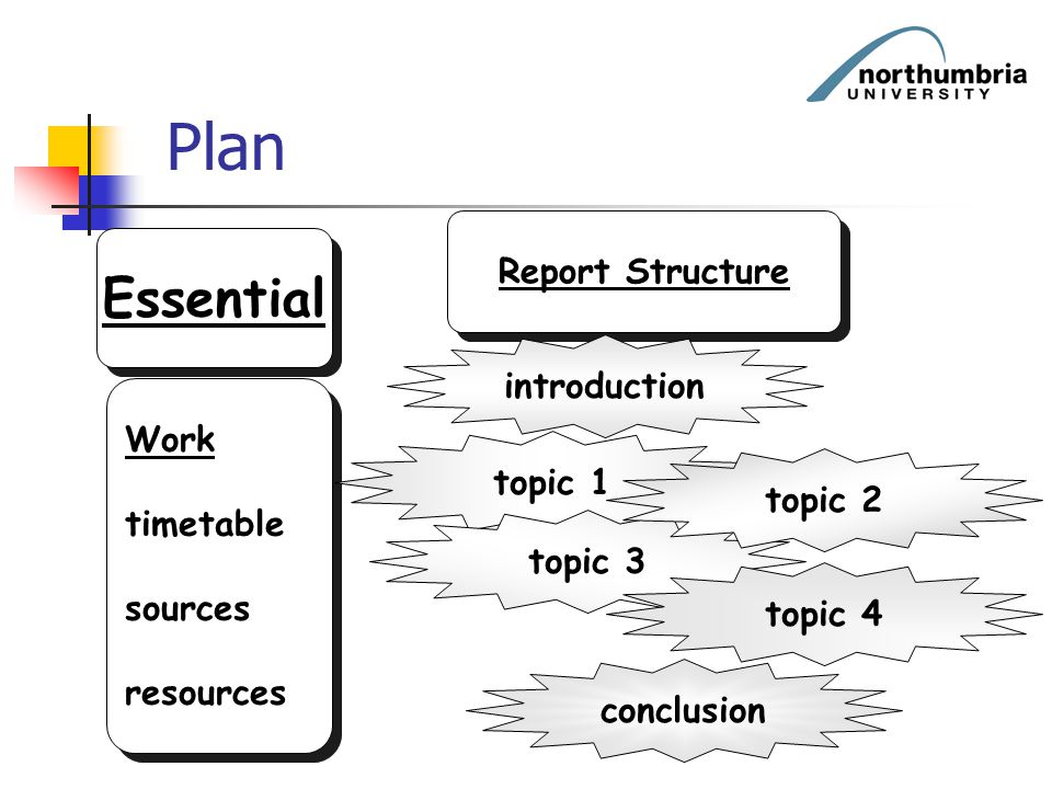 Plan Essential Work timetable sources resources Work timetable sources resources Report Structure introduction topic 1 topic 3 topic 2 topic 4 conclus