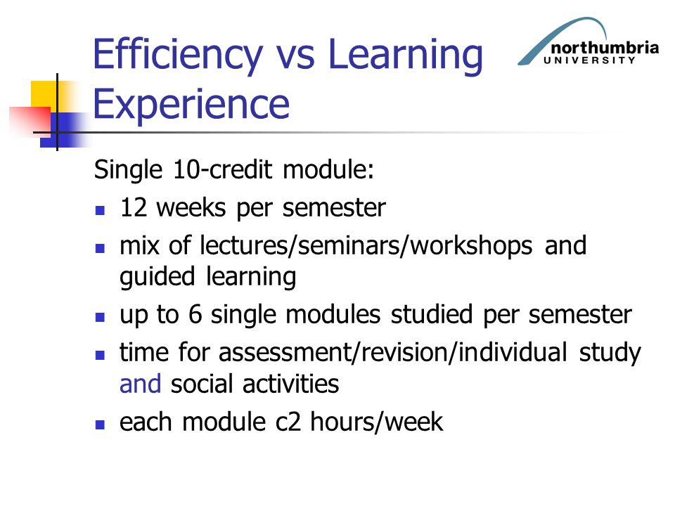 Efficiency vs Learning Experience Single 10-credit module: 12 weeks per semester mix of lectures/seminars/workshops and guided learning up to 6 single
