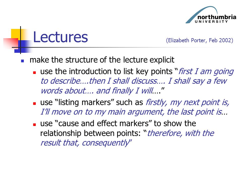 """Lectures (Elizabeth Porter, Feb 2002) make the structure of the lecture explicit use the introduction to list key points """"first I am going to describe"""