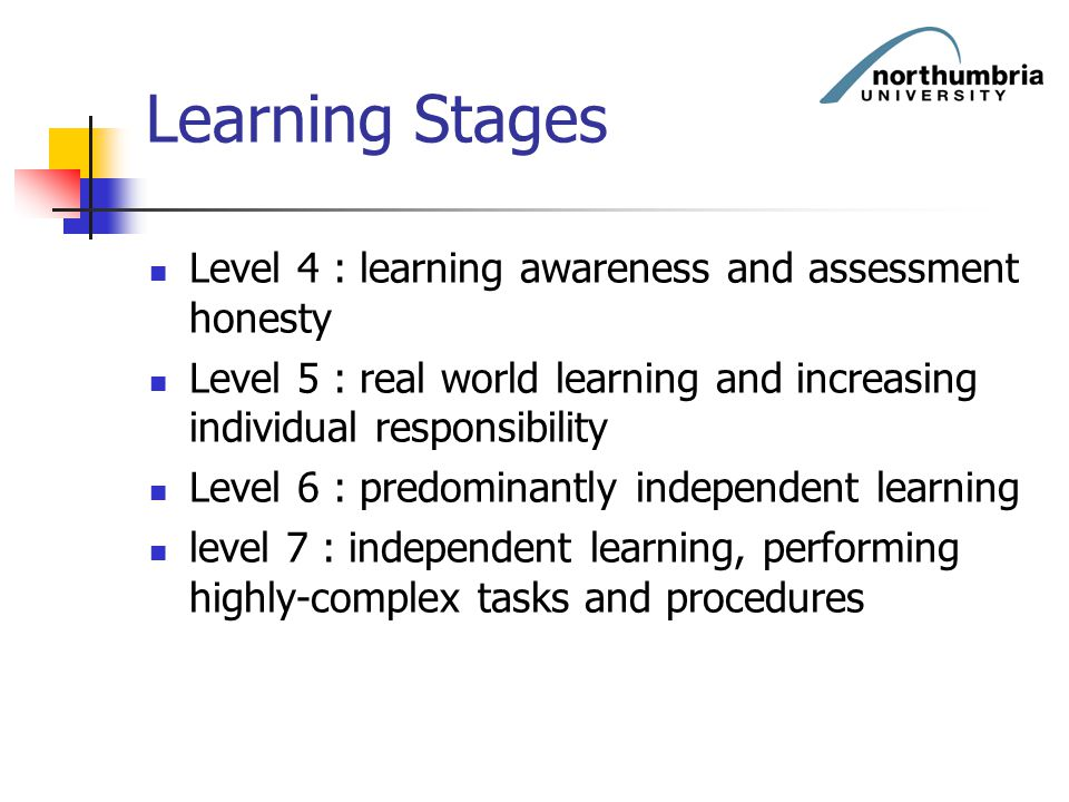 Learning Stages Level 4 : learning awareness and assessment honesty Level 5 : real world learning and increasing individual responsibility Level 6 : p