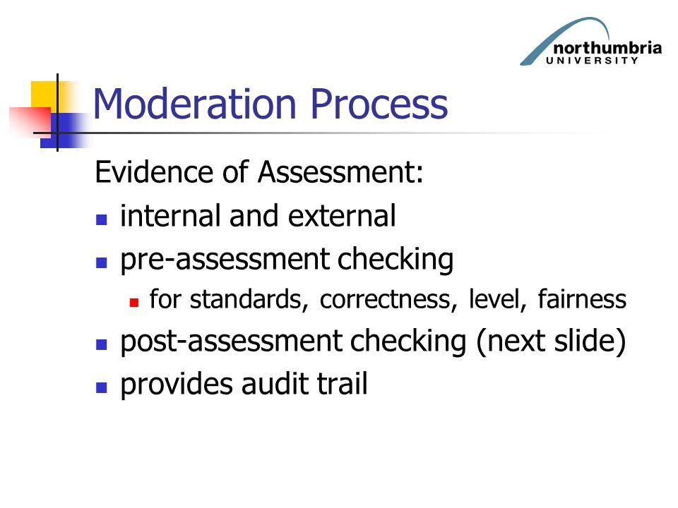 Moderation Process Evidence of Assessment: internal and external pre-assessment checking for standards, correctness, level, fairness post-assessment c