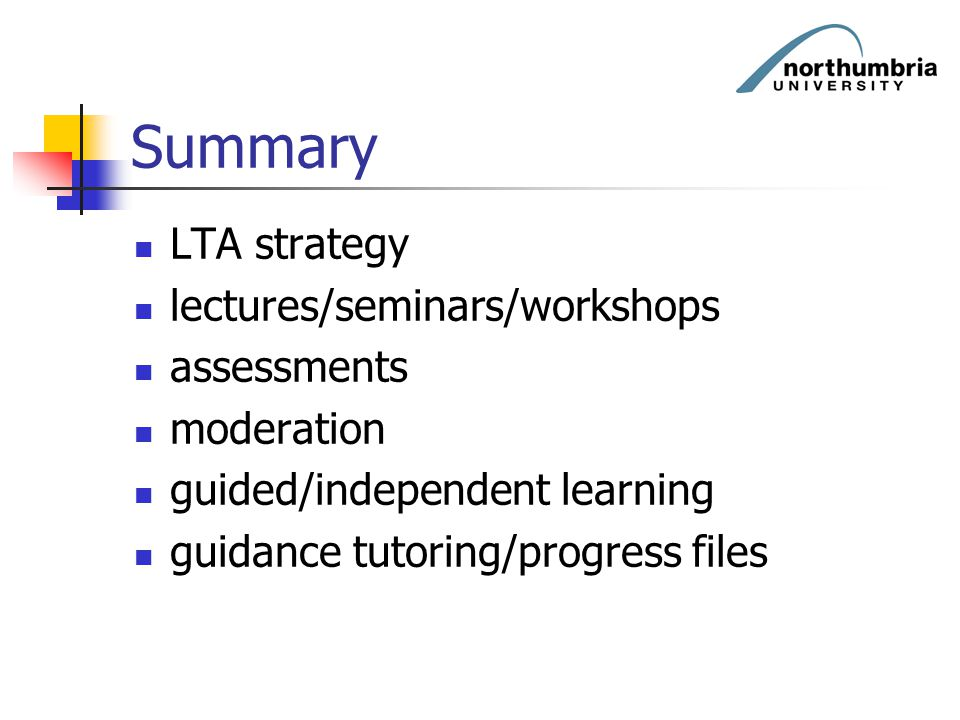 Summary LTA strategy lectures/seminars/workshops assessments moderation guided/independent learning guidance tutoring/progress files