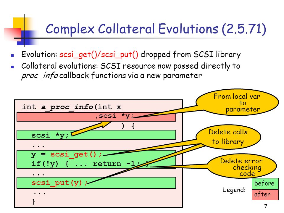 7 Complex Collateral Evolutions (2.5.71) int a_proc_info(int x ) { scsi *y;... y = scsi_get(); if(!y) {... return -1; }... scsi_put(y);... } Delete ca