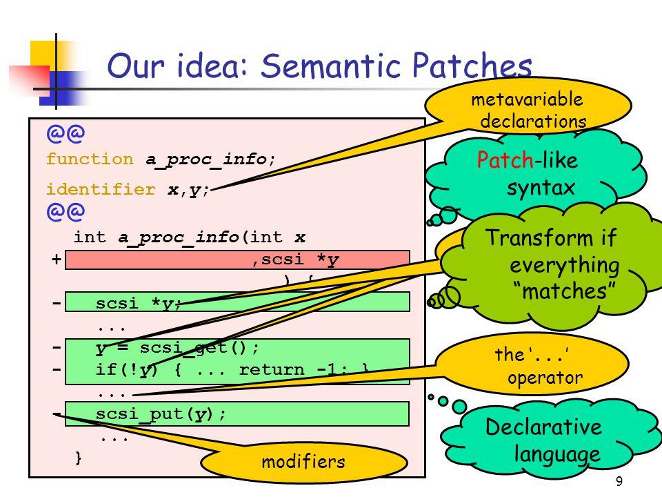 9 Our idea: Semantic Patches int a_proc_info(int x +,scsi *y ) { - scsi *y;...