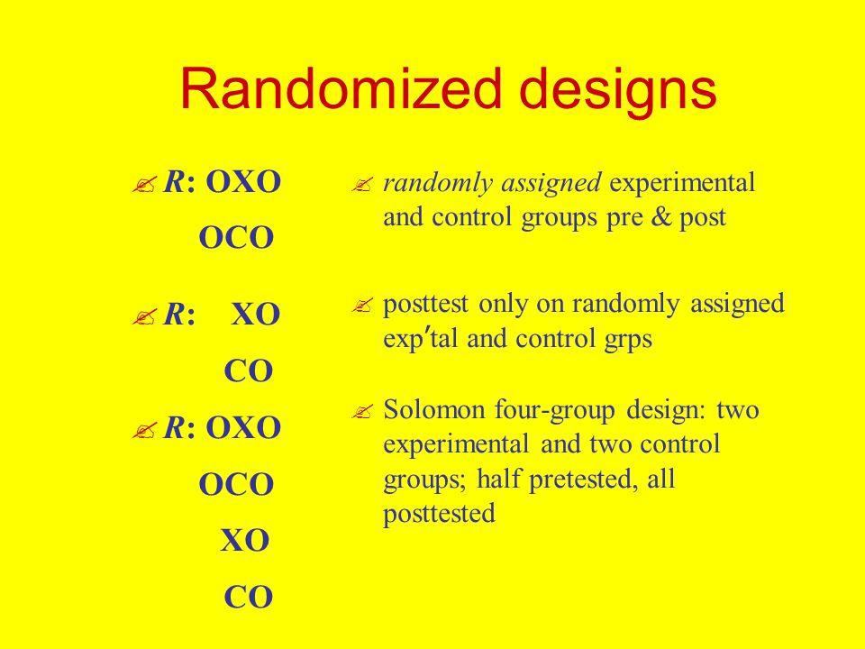 Randomized designs .R: OXO OCO . R: XO CO . R: OXO OCO XO CO .