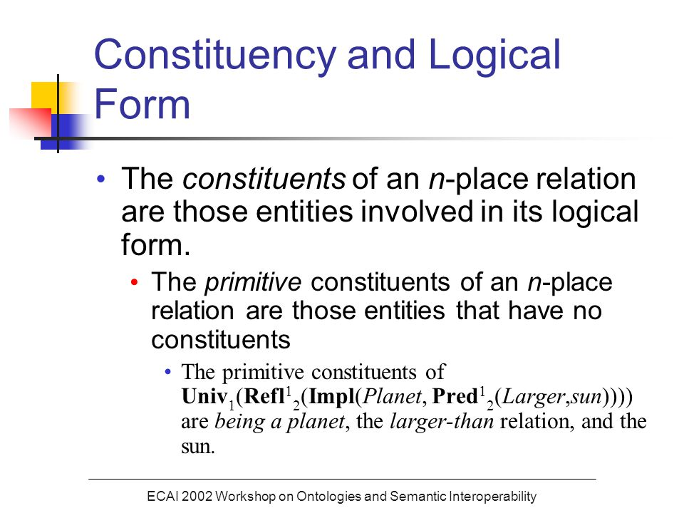 ECAI 2002 Workshop on Ontologies and Semantic Interoperability Constituency and Logical Form The constituents of an n-place relation are those entities involved in its logical form.
