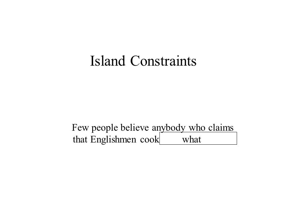 Island Constraints What do Few people believe anybody who claims that Englishmen cook what
