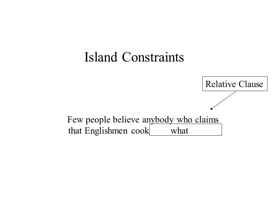 Island Constraints What do Few people believe anybody who claims that Englishmen cook what Relative Clause
