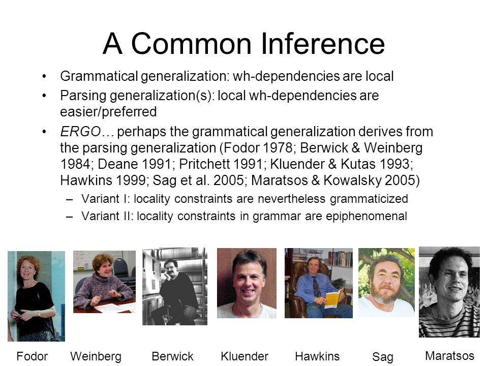 A Common Inference Grammatical generalization: wh-dependencies are local Parsing generalization(s): local wh-dependencies are easier/preferred ERGO… perhaps the grammatical generalization derives from the parsing generalization (Fodor 1978; Berwick & Weinberg 1984; Deane 1991; Pritchett 1991; Kluender & Kutas 1993; Hawkins 1999; Sag et al.