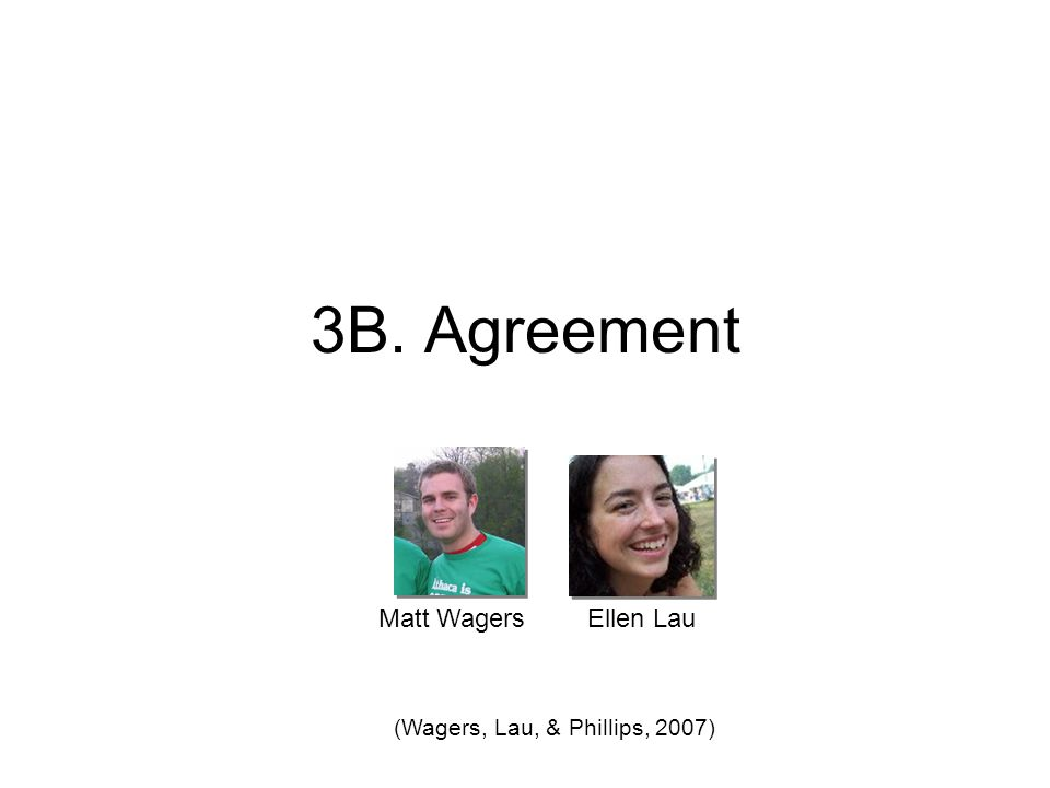 3B. Agreement Ellen LauMatt Wagers (Wagers, Lau, & Phillips, 2007)