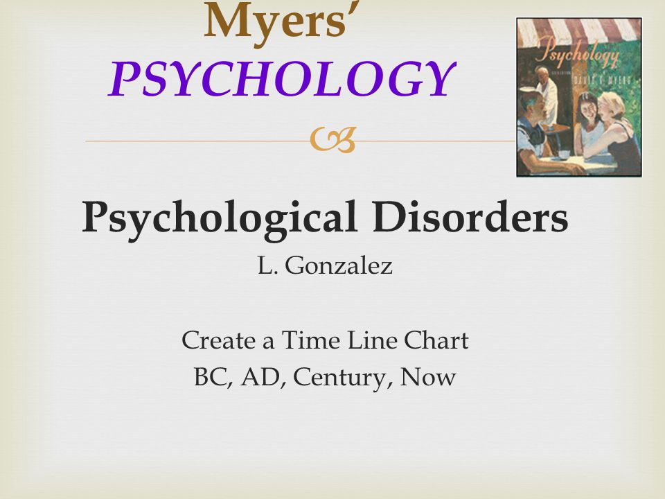  Psychological Disorders L. Gonzalez Create a Time Line Chart BC, AD, Century, Now Myers' PSYCHOLOGY