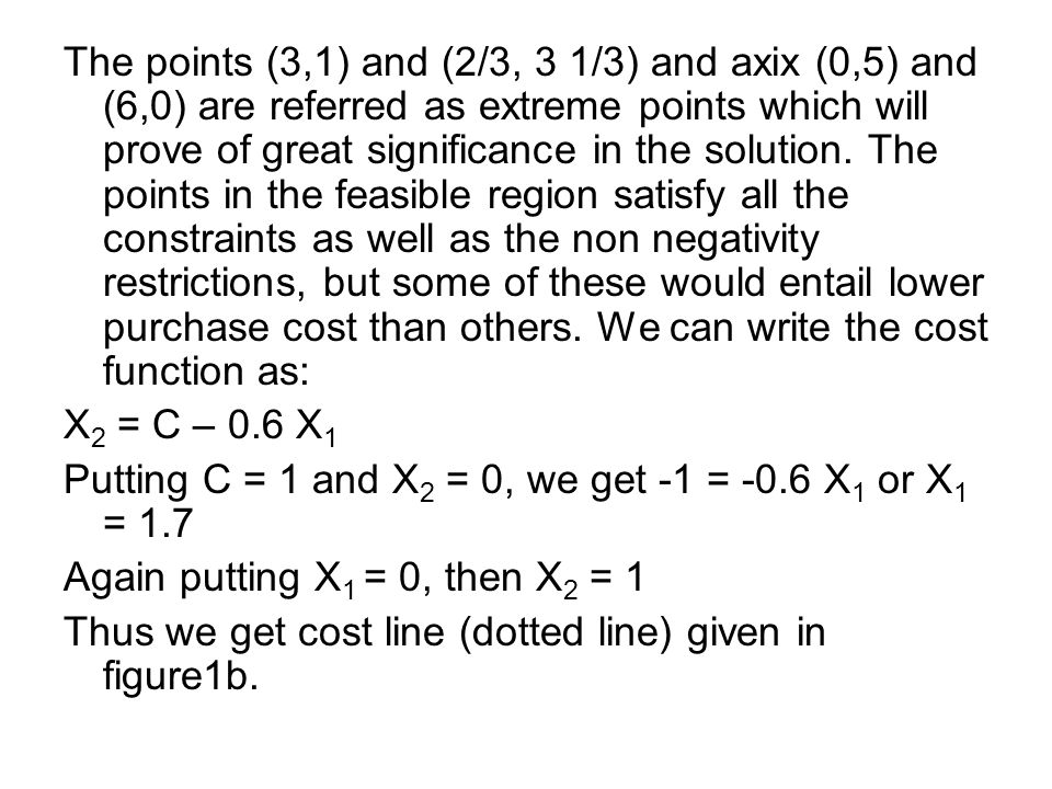 The points (3,1) and (2/3, 3 1/3) and axix (0,5) and (6,0) are referred as extreme points which will prove of great significance in the solution.
