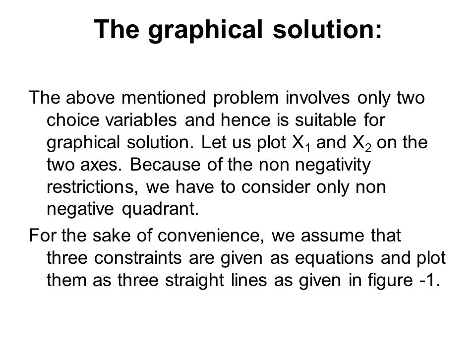 The graphical solution: The above mentioned problem involves only two choice variables and hence is suitable for graphical solution.