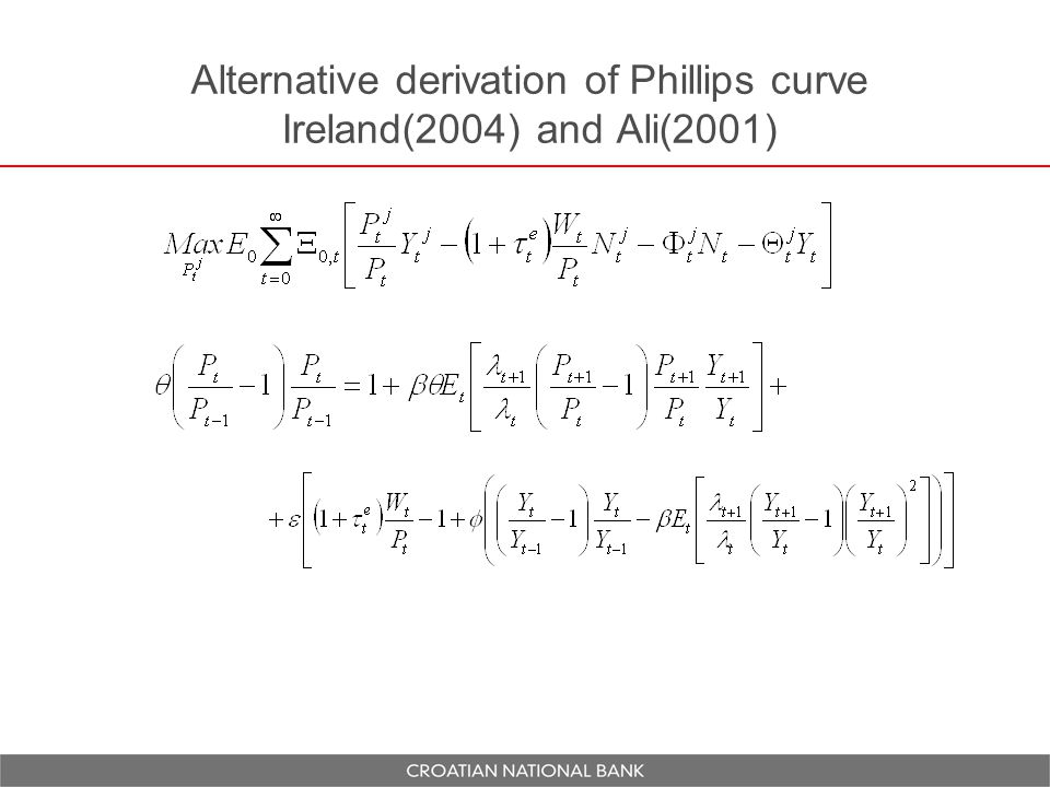 Alternative derivation of Phillips curve Ireland(2004) and Ali(2001)