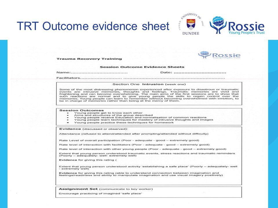 TRT Outcome evidence sheet