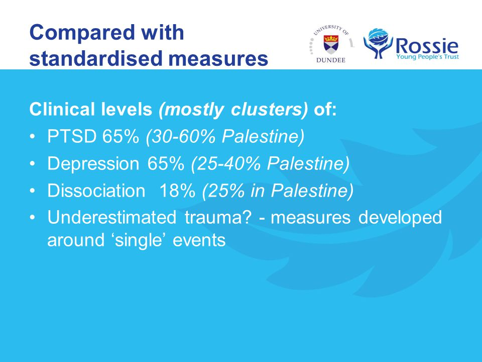 Compared with standardised measures Clinical levels (mostly clusters) of: PTSD 65% (30-60% Palestine) Depression 65% (25-40% Palestine) Dissociation 1