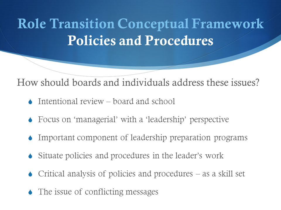 Role Transition Conceptual Framework Policies and Procedures How should boards and individuals address these issues.