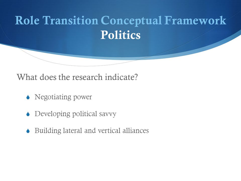 Role Transition Conceptual Framework Politics What does the research indicate.