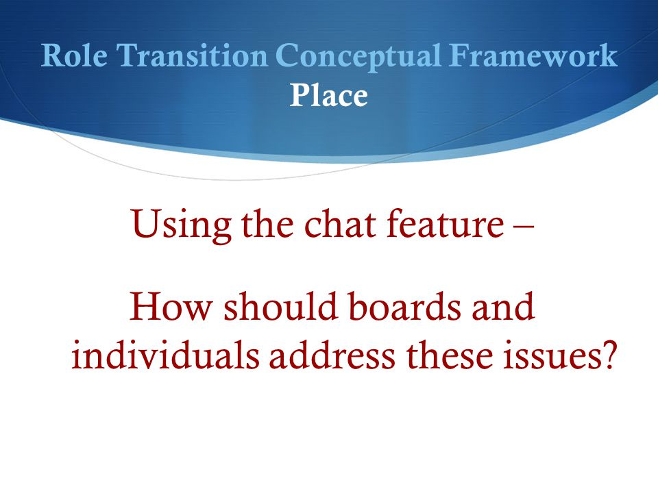 Role Transition Conceptual Framework Place Using the chat feature – How should boards and individuals address these issues