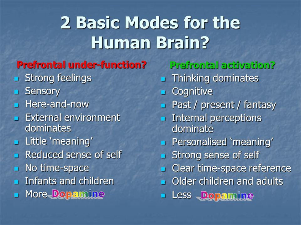2 Basic Modes for the Human Brain? Prefrontal under-function? Prefrontal under-function? Strong feelings Strong feelings Sensory Sensory Here-and-now