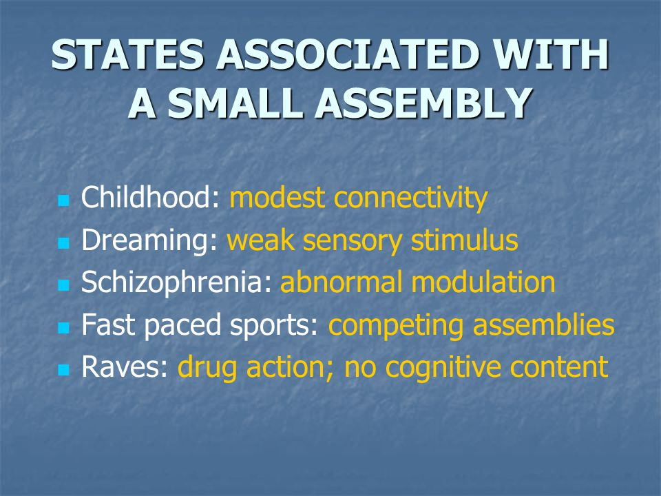 STATES ASSOCIATED WITH A SMALL ASSEMBLY Childhood: modest connectivity Dreaming: weak sensory stimulus Schizophrenia: abnormal modulation Fast paced s