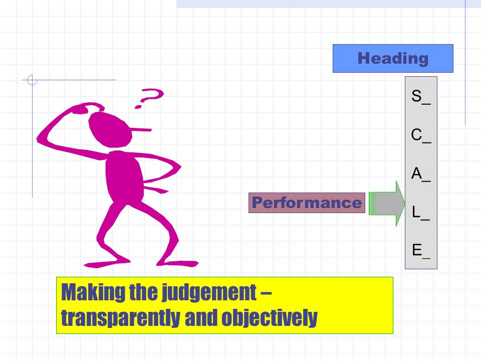 Heading Performance Making the judgement – transparently and objectively S_ C_ A_ L_ E _