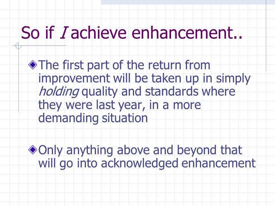 So if I achieve enhancement..