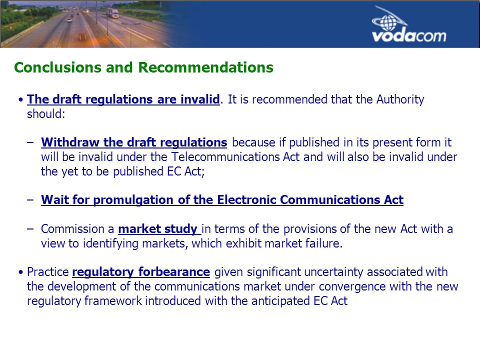 Conclusions and Recommendations The draft regulations are invalid.