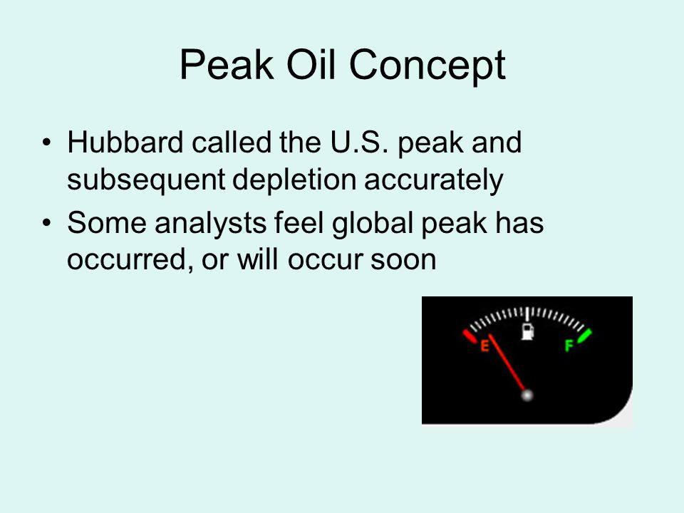 Peak Oil Concept Hubbard called the U.S.