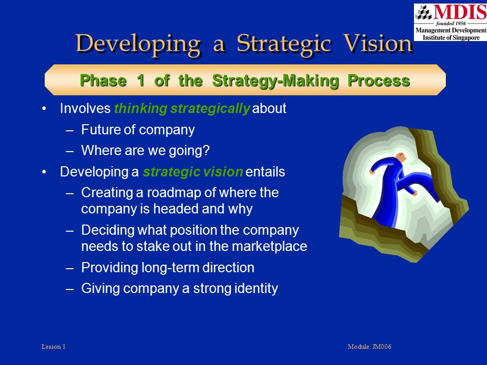 Lesson 1Module: JM006 Developing a Strategic Vision Involves thinking strategically about –Future of company –Where are we going? Developing a strateg