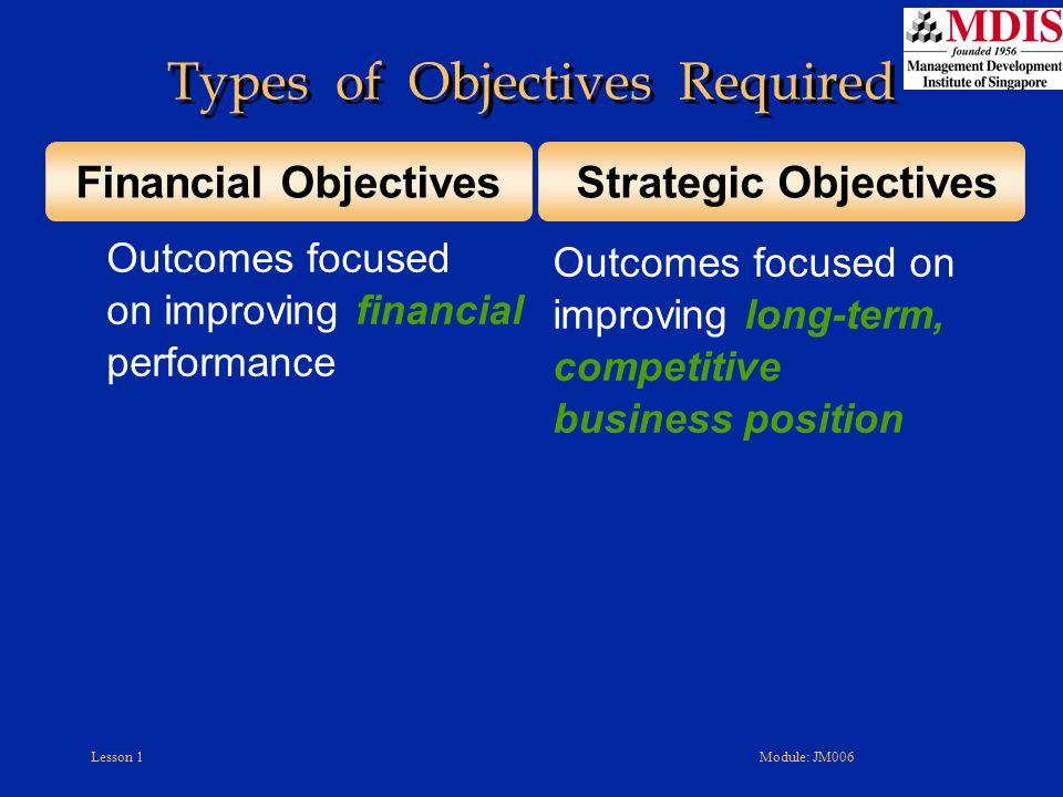 Lesson 1Module: JM006 Outcomes focused on improving financial performance Outcomes focused on improving long-term, competitive business position Finan