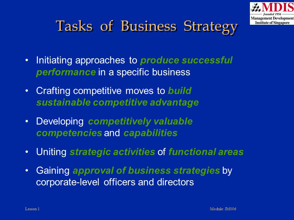 Lesson 1Module: JM006 Initiating approaches to produce successful performance in a specific business Crafting competitive moves to build sustainable c