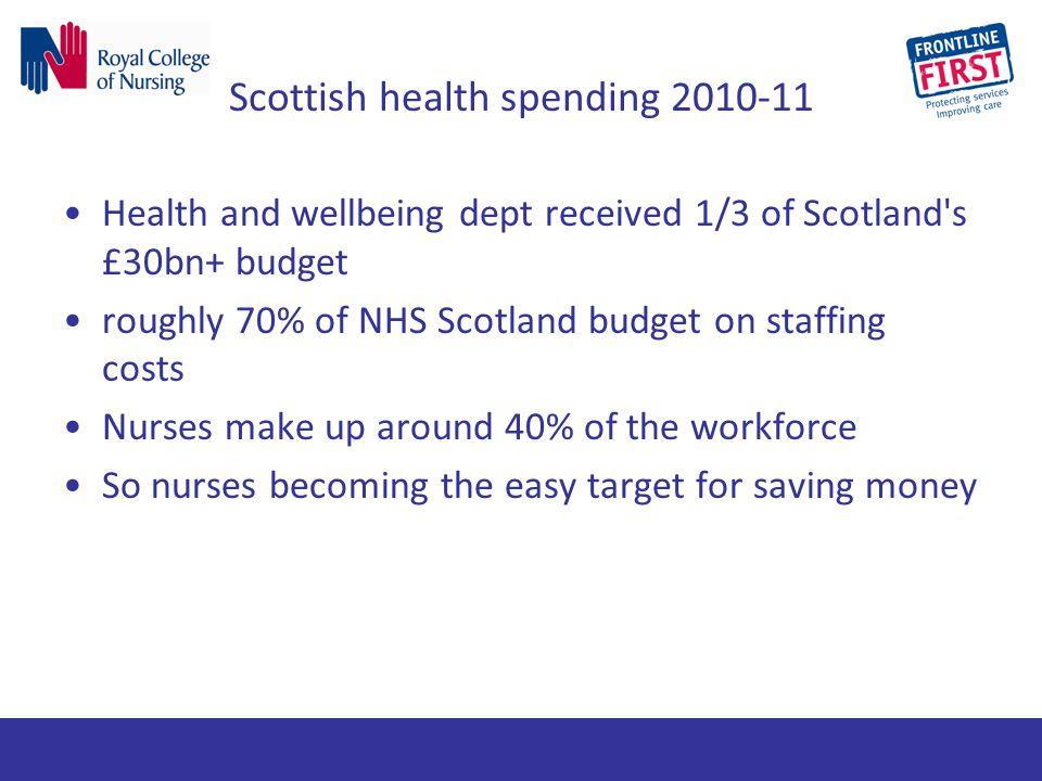 Scottish health spending 2010-11 Health and wellbeing dept received 1/3 of Scotland's £30bn+ budget roughly 70% of NHS Scotland budget on staffing cos