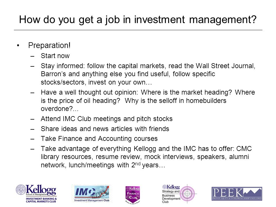 How do you get a job in investment management. Preparation.