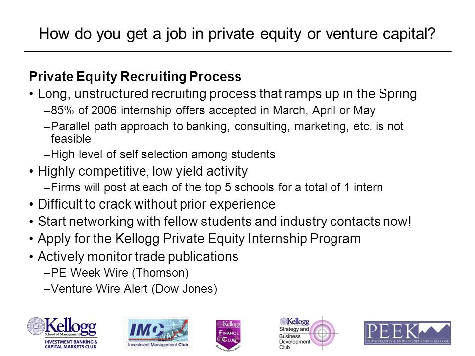 How do you get a job in private equity or venture capital.