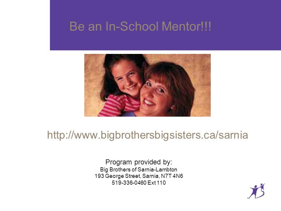 Be an In-School Mentor!!.