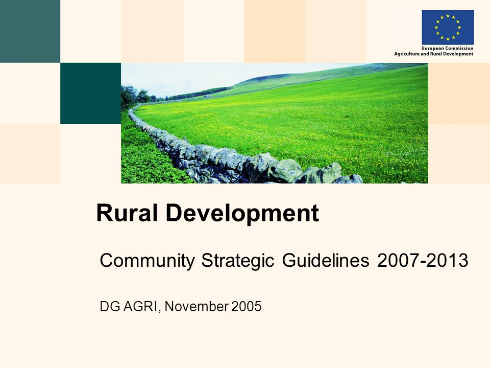 Community Strategic Guidelines 2007-2013 DG AGRI, November 2005 Rural Development