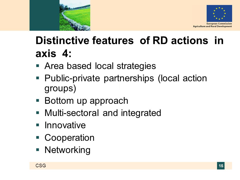 CSG 15 Distinctive features of RD actions in axis 4:  Area based local strategies  Public-private partnerships (local action groups)  Bottom up approach  Multi-sectoral and integrated  Innovative  Cooperation  Networking