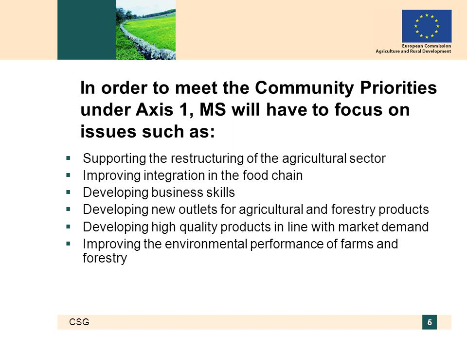 CSG 5 In order to meet the Community Priorities under Axis 1, MS will have to focus on issues such as:  Supporting the restructuring of the agricultural sector  Improving integration in the food chain  Developing business skills  Developing new outlets for agricultural and forestry products  Developing high quality products in line with market demand  Improving the environmental performance of farms and forestry