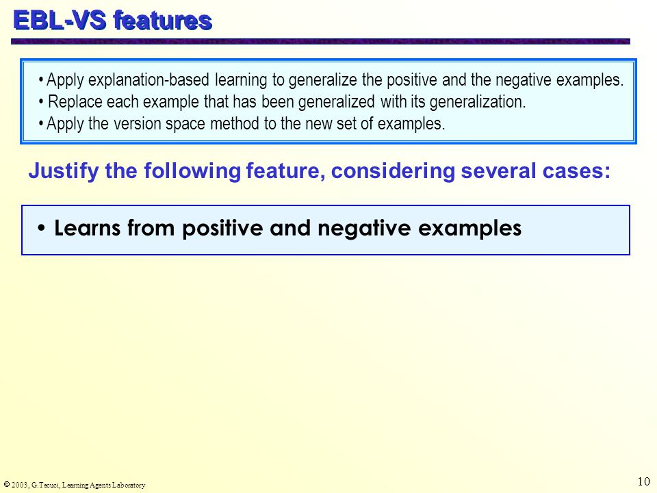  2003, G.Tecuci, Learning Agents Laboratory 10 EBL-VS features Learns from positive and negative examples Justify the following feature, considering several cases: Apply explanation-based learning to generalize the positive and the negative examples.