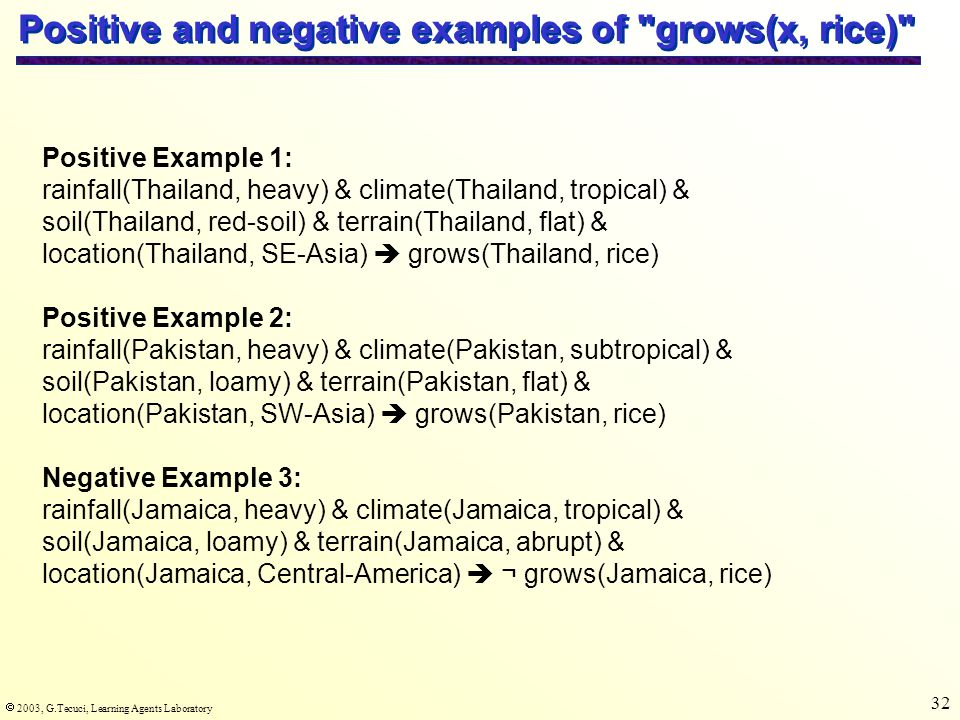  2003, G.Tecuci, Learning Agents Laboratory 32 Positive and negative examples of grows(x, rice) Positive Example 1: rainfall(Thailand, heavy) & climate(Thailand, tropical) & soil(Thailand, red-soil) & terrain(Thailand, flat) & location(Thailand, SE-Asia)  grows(Thailand, rice) Positive Example 2: rainfall(Pakistan, heavy) & climate(Pakistan, subtropical) & soil(Pakistan, loamy) & terrain(Pakistan, flat) & location(Pakistan, SW-Asia)  grows(Pakistan, rice) Negative Example 3: rainfall(Jamaica, heavy) & climate(Jamaica, tropical) & soil(Jamaica, loamy) & terrain(Jamaica, abrupt) & location(Jamaica, Central-America)  ¬ grows(Jamaica, rice)