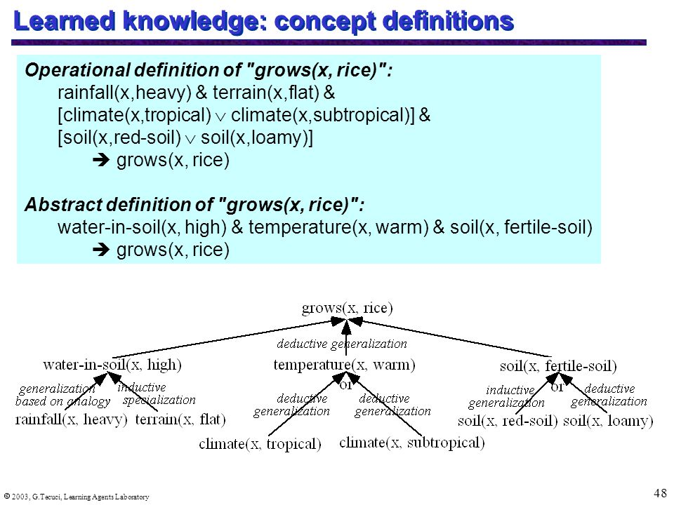  2003, G.Tecuci, Learning Agents Laboratory 48 Learned knowledge: concept definitions Operational definition of