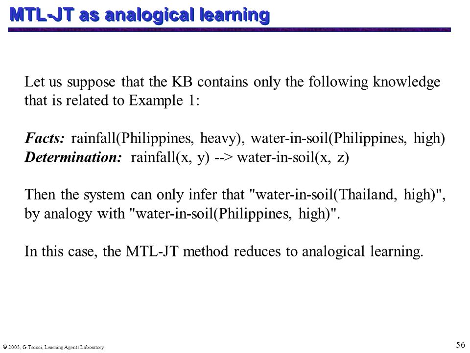  2003, G.Tecuci, Learning Agents Laboratory 56 MTL-JT as analogical learning Let us suppose that the KB contains only the following knowledge that is related to Example 1: Facts:rainfall(Philippines, heavy), water-in-soil(Philippines, high) Determination: rainfall(x, y) --> water-in-soil(x, z) Then the system can only infer that water-in-soil(Thailand, high) , by analogy with water-in-soil(Philippines, high) .