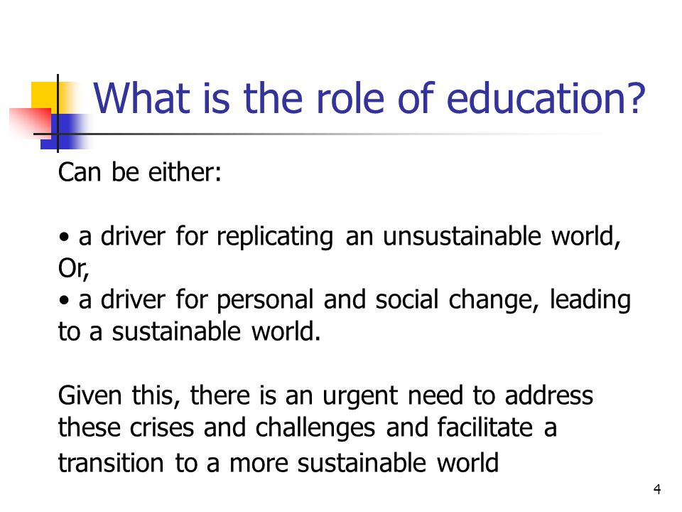5 Education for Sustainable Development (ESD) as a new paradigm for revising and reorienting today's education ESD generates new forms of knowing, learning and being that can lead people to transform themselves and society (cf.