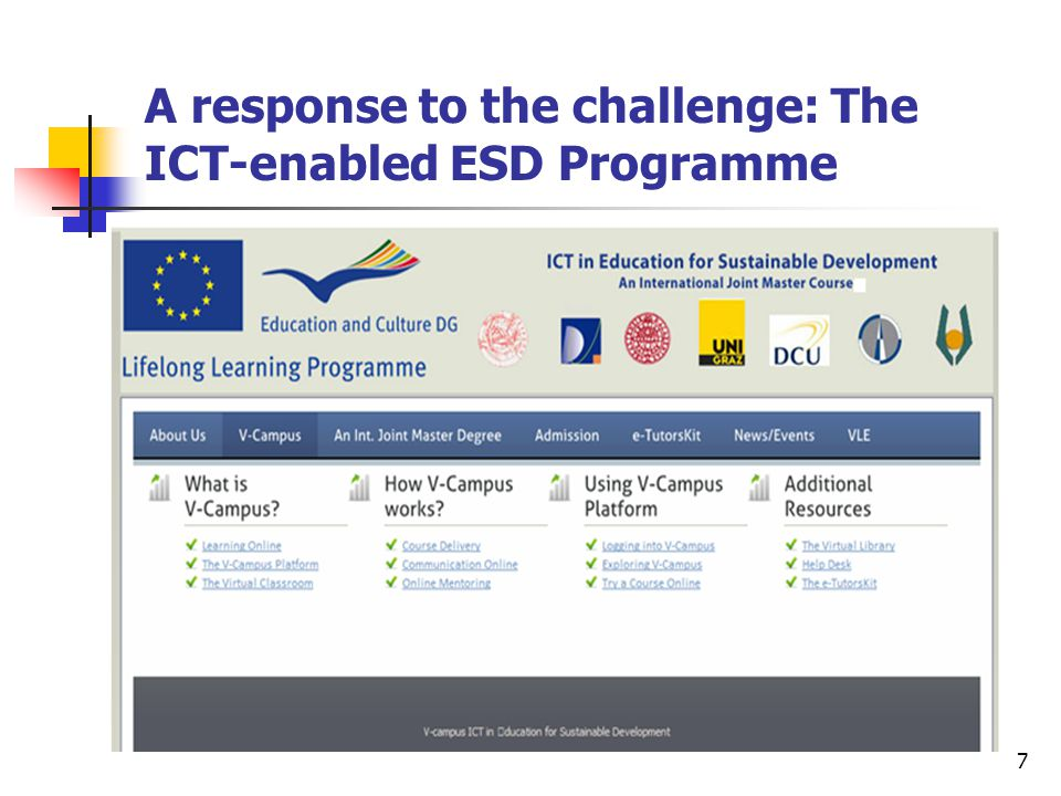 7 A response to the challenge: The ICT-enabled ESD Programme