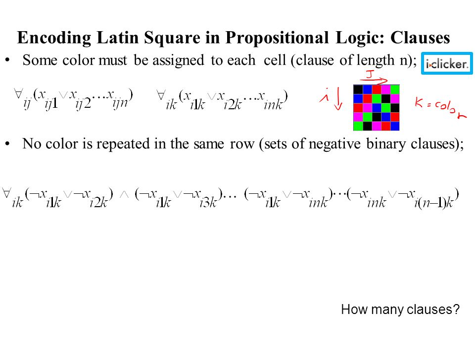 Encoding Latin Square in Propositional Logic: Clauses Some color must be assigned to each cell (clause of length n); No color is repeated in the same